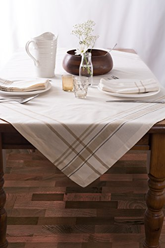 DII 100 Cotton Machine Washable Everyday French Stripe Kitchen Tablecloth For Dinner Parties Summer Outdoor Picnics 60x84 Seats 6 To 8 People 60 X 84 Chambray White 0 1