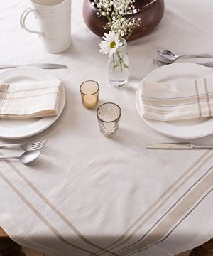 DII 100 Cotton Machine Washable Everyday French Stripe Kitchen Tablecloth For Dinner Parties Summer Outdoor Picnics 60x84 Seats 6 To 8 People 60 X 84 Chambray White 0 2 300x360