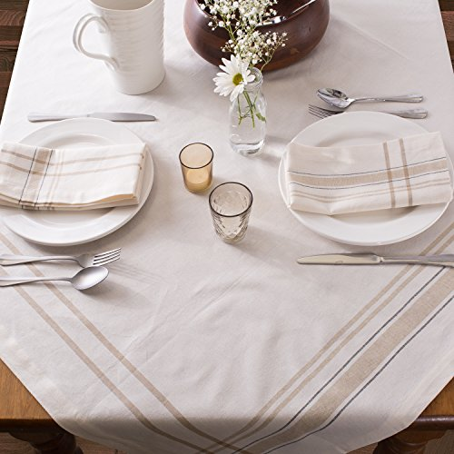 DII 100 Cotton Machine Washable Everyday French Stripe Kitchen Tablecloth For Dinner Parties Summer Outdoor Picnics 60x84 Seats 6 To 8 People 60 X 84 Chambray White 0 2