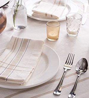 DII 100 Cotton Machine Washable Everyday French Stripe Kitchen Tablecloth For Dinner Parties Summer Outdoor Picnics 60x84 Seats 6 To 8 People 60 X 84 Chambray White 0 3 300x333