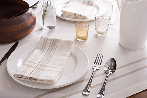 DII 100 Cotton Machine Washable Everyday French Stripe Kitchen Tablecloth For Dinner Parties Summer Outdoor Picnics 60x84 Seats 6 To 8 People 60 X 84 Chambray White 0 3