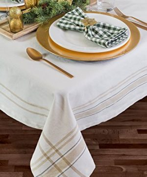 DII 100 Cotton Machine Washable Everyday French Stripe Kitchen Tablecloth For Dinner Parties Summer Outdoor Picnics 60x84 Seats 6 To 8 People 60 X 84 Chambray White 0 4 300x360