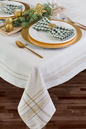 DII 100 Cotton Machine Washable Everyday French Stripe Kitchen Tablecloth For Dinner Parties Summer Outdoor Picnics 60x84 Seats 6 To 8 People 60 X 84 Chambray White 0 4