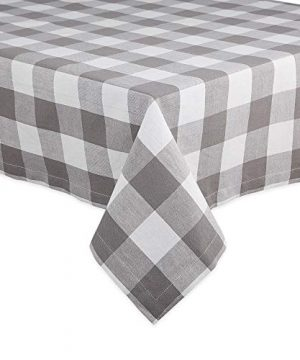 DII Buffalo Check Tabletop Collection For Family Dinners Special Occasions And Everyday Use IndoorOutdoor 60x84 Gray White 0 300x360
