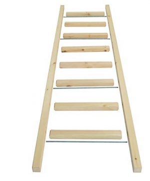 DIYHD 96 Knotty Pine Wood Sliding Library Ladder Rolling LadderUnfinished 0 0 300x360