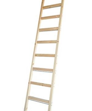 DIYHD 96 Knotty Pine Wood Sliding Library Ladder Rolling LadderUnfinished 0 300x360