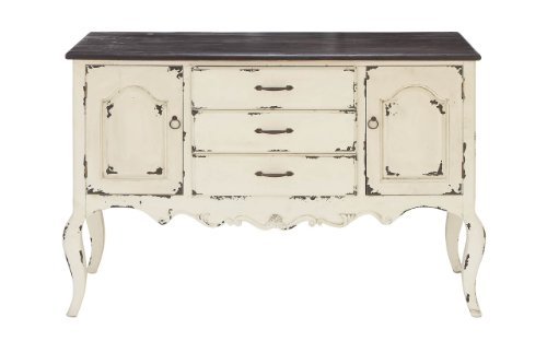 Deco 79 Farmhouse Beige Brown Wood Cabinet W 3 Drawers 2 Cabinets 48 X 33 0