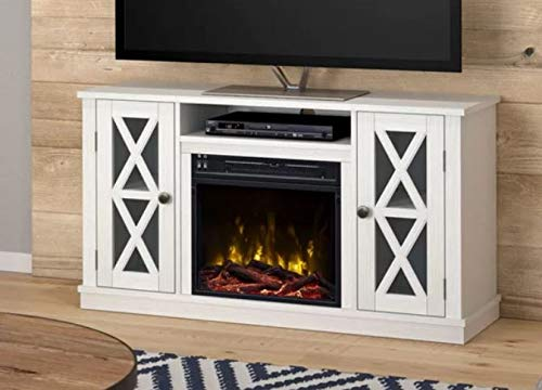 DesignTN Entertainment Center With Fireplace TV Console With Fireplace White For TVs Up To 55 Inch A Must Have For Living Areas And Entertainment Spaces 0