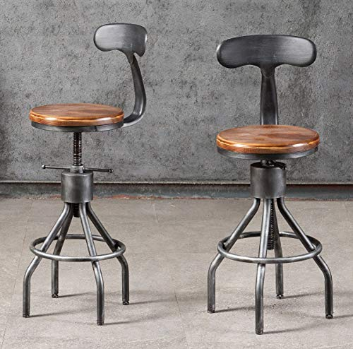 Diwhy Industrial Vintage Bar Stool Kitchen Counter Height Adjustable Pipe Stool Cast Iron Stool Swivel Bar Stool With Farmhouse Goals