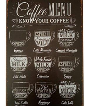 ERLOOD Coffee Menu Know Your Coffee Tin Sign Wall Retro Metal Bar Pub Poster Metal 12 X 8 0 300x360