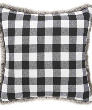 Eddie Bauer Throw Pillow Fur Cabin Plaid Black 0 300x360
