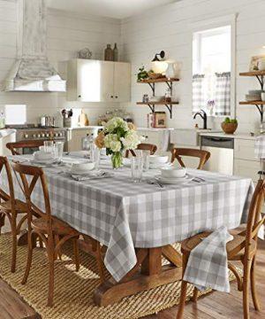 Elrene Home Fashions Farmhouse Living Buffalo Check Tablecloth 52 X 52 GrayWhite 0 0 300x360