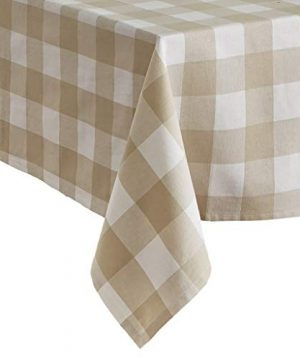 Elrene Home Fashions Farmhouse Living Buffalo Check Tablecloth 52 X 70 TanWhite 0 300x360