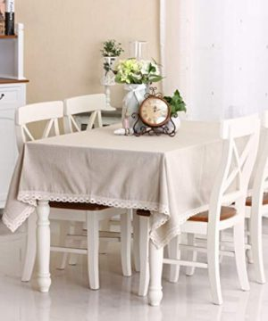 Enova Home Natural Simple Rectangle Cotton And Linen Washable Tablecloth Lace Table Cloth Cover With Pattern Printed For Kitchen Dinning Tabletop 54 X 80 Inch Simple White 0 300x360