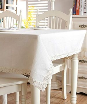 Enovaus Natural Simple Rectangular Square Solid Cotton And Linen Tablecloth Macrame Lace Dustproof Table Cover For Kitchen Dinning Pub Tabletop Decoration 54x 80 White Thicken 0 300x360