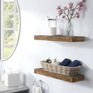 Evonne+2+Piece+Solid+Wood+Pine+Floating+Shelf+Set+of+2