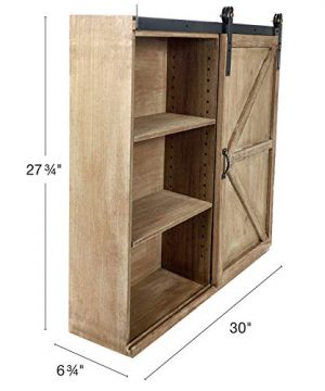 Excello Global Products Shabby Chic Rustic Barnwood Storage Cabinet Includes Adjustable And Removable Shelves 28 X 30 With Barn Door Decor 0 0 300x360