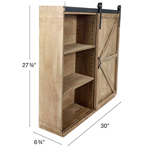 Excello Global Products Shabby Chic Rustic Barnwood Storage Cabinet Includes Adjustable And Removable Shelves 28 X 30 With Barn Door Decor 0 0