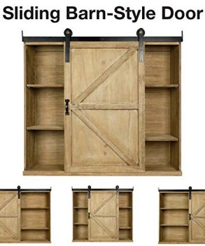 Excello Global Products Shabby Chic Rustic Barnwood Storage Cabinet Includes Adjustable And Removable Shelves 28 X 30 With Barn Door Decor 0 1 300x360
