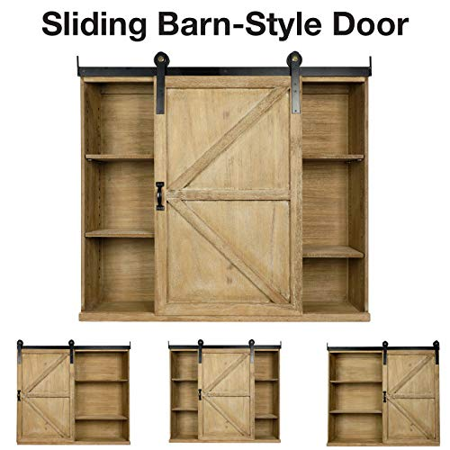 Excello Global Products Shabby Chic Rustic Barnwood Storage Cabinet Includes Adjustable And Removable Shelves 28 X 30 With Barn Door Decor 0 1