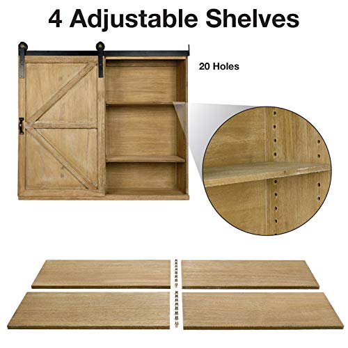 Excello Global Products Shabby Chic Rustic Barnwood Storage Cabinet Includes Adjustable And Removable Shelves 28 X 30 With Barn Door Decor 0 2