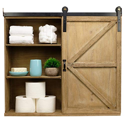 Excello Global Products Shabby Chic Rustic Barnwood Storage Cabinet Includes Adjustable And Removable Shelves 28 X 30 With Barn Door Decor 0