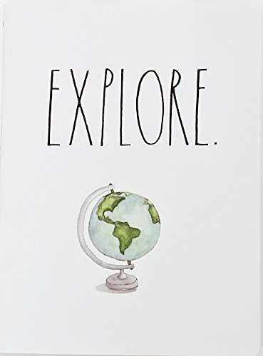 Explore World Globe Rae Dunn Notebook With Lined Pages Diary Journal Memo Notepad Notes Organize Lists Office School Work Home 0