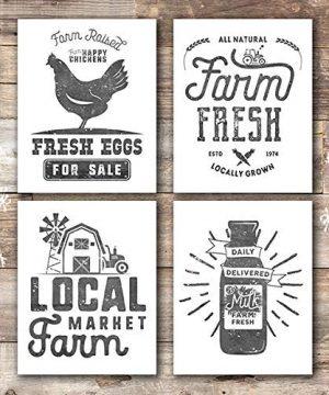 Farmhouse Decor Kitchen Art Prints Set Of 4 Unframed 8x10s 0 300x360