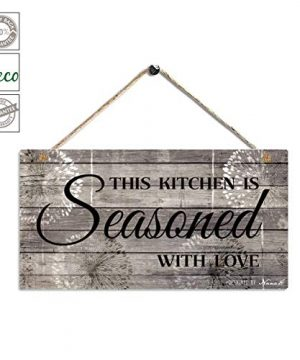 Farmhouse Kitchen Decor Rustic Kitchen Signs Wall Decor Printed Wood Wall Art This Kitchen Is Seasoned With Love Kitchen Wall Decor 115 X 6 Grey Black 0 300x360