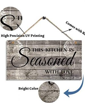 Farmhouse Kitchen Decor Rustic Kitchen Signs Wall Decor Printed Wood Wall Art This Kitchen Is Seasoned With Love Farmhouse Goals