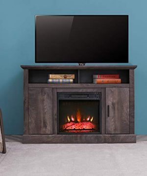 Festival Depot 47 Wide TV Stand With Electric Fireplace Console For TVs Up To 55for Living Room 47inch Dark Grey 0 300x360