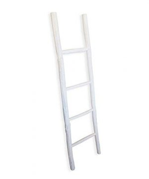 Fifth Nest Blanket Ladder White Shelf Rustic Farmhouse Home Decor Wooden 5 Foot To Display Blankets Quilts Towels And Linens 0 0 300x360