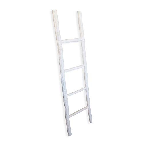 Fifth Nest Blanket Ladder White Shelf Rustic Farmhouse Home Decor Wooden 5 Foot To Display Blankets Quilts Towels And Linens 0 0