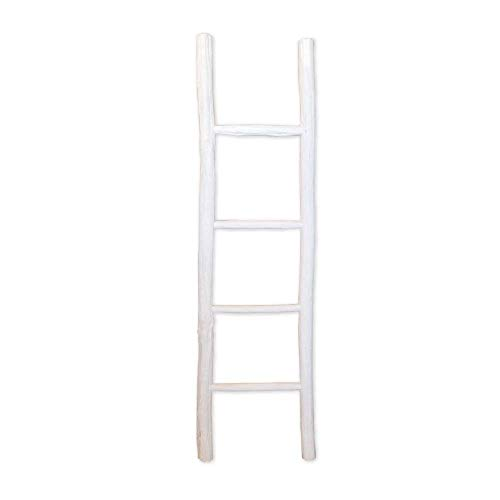 Fifth Nest Blanket Ladder White Shelf Rustic Farmhouse Home Decor Wooden 5 Foot To Display Blankets Quilts Towels And Linens 0