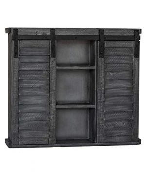 Functional Home Accents Shutter Sliding Double Doors Storage Wall Cabinet For Kitchen Bathroom Bar Nursery Home Decor Charcoal 0 0 300x360