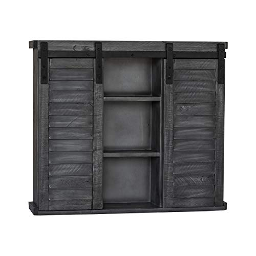 Functional Home Accents Shutter Sliding Double Doors Storage Wall Cabinet For Kitchen Bathroom Bar Nursery Home Decor Charcoal 0 0