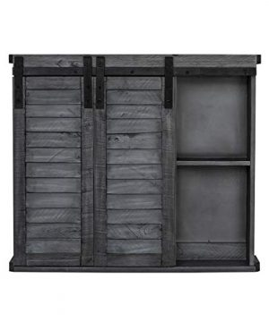 Functional Home Accents Shutter Sliding Double Doors Storage Wall Cabinet For Kitchen Bathroom Bar Nursery Home Decor Charcoal 0 1 300x360