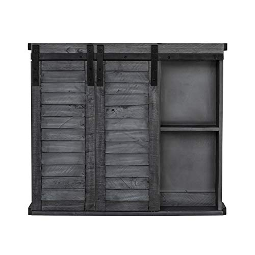 Functional Home Accents Shutter Sliding Double Doors Storage Wall Cabinet For Kitchen Bathroom Bar Nursery Home Decor Charcoal 0 1