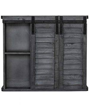 Functional Home Accents Shutter Sliding Double Doors Storage Wall Cabinet For Kitchen Bathroom Bar Nursery Home Decor Charcoal 0 2 300x360