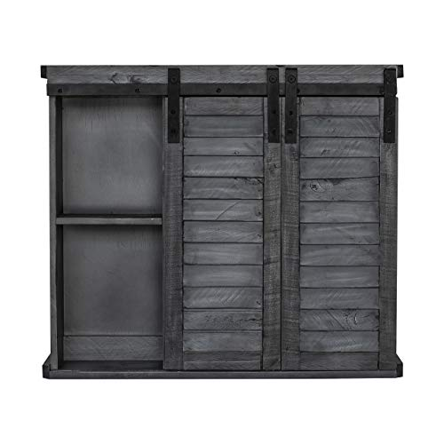Functional Home Accents Shutter Sliding Double Doors Storage Wall Cabinet For Kitchen Bathroom Bar Nursery Home Decor Charcoal 0 2