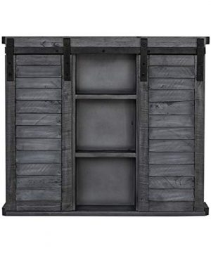 Functional Home Accents Shutter Sliding Double Doors Storage Wall Cabinet For Kitchen Bathroom Bar Nursery Home Decor Charcoal 0 300x360