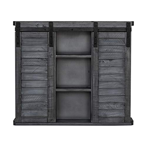 Functional Home Accents Shutter Sliding Double Doors Storage Wall Cabinet For Kitchen Bathroom Bar Nursery Home Decor Charcoal 0