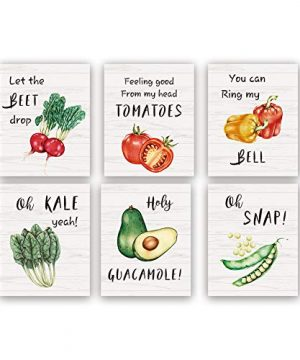 Funny Kitchen Art PrintSet Of 68X10inchUnframed Beet Tomatoes Kale Vegetable Quote Canvas PosterBotanical Farmhouse Style Wall Art For Restaurant Dining Room Decor 0 300x360