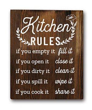 Funny Kitchen Rules Sayings Wall Art Prints 8x10 Wood Wall Art Rustic Farmhouse Dcor 0 300x360
