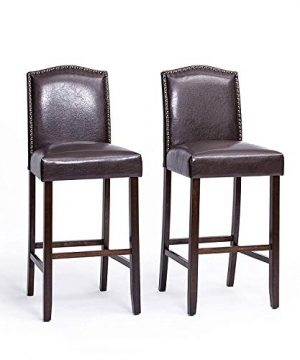 Furgle Set Of 2 Bar Stool 30 Inch Solid Wood Upholstered PU Leather Cushioned Seat WBrass Nailhead Studs For Kitchen Island Counter Pub Or Bar Cuppuccino A000010 0 300x360