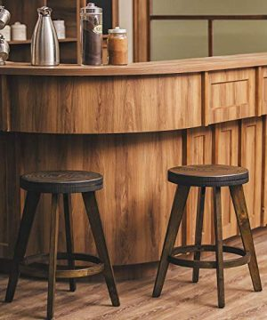 Furgle Set Of 2 Round Counter Stool Bar Stool 24 Inch Solid Wood Backless Bar Stool Natural Bar Stool For Kitchen Island Counter Pub Or Bar 0 300x360