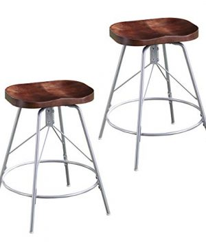 Furniture HotSpot Backless Swivel Counter Stool Set Of 2 Distressed Pine Wood Finish WBlack Metal Frame 0 300x360