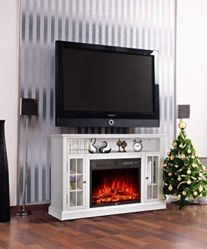 GMHome 46 Inches TV Stand Electric Fireplace Insert Media Console With Bookcase With Remote Control Electric Fireplace Ivory Finish 0 300x360