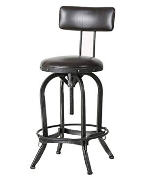 Great Deal Furniture Samthorn Metal Industrial Barstool WBackrest Brown Recast Leather 0 300x360