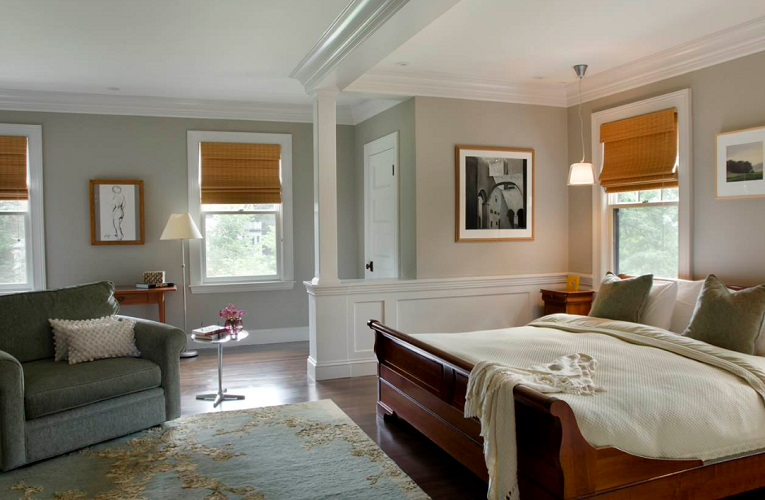 Green Gambrel Master Bedroom by LDa Architecture & Interiors
